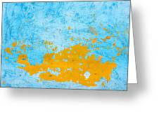 Blue And Orange Wall Texture Greeting Card