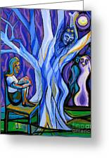Blue And Purple Girl With Tree And Owl Greeting Card