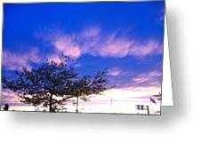 Blue And Purple Skies At Sunset Greeting Card