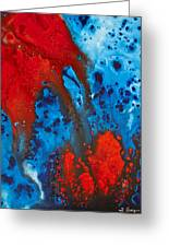 Blue And Red Abstract 3 Greeting Card by Sharon Cummings