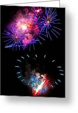 Blue And Red Firework Disks Greeting Card