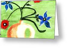 Blue And Red Flowers Greeting Card