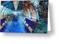 Blue And Rust Grunge Tunnel Greeting Card