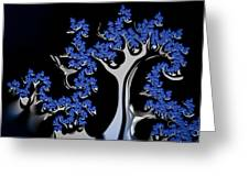 Blue And Silver Fractal Tree Abstract Artwork Greeting Card