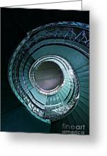 Blue And Silver Spiral Stairs Greeting Card