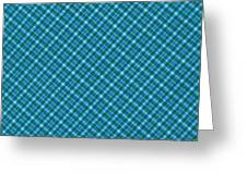 Blue And Teal Diagonal Plaid Pattern Textile Background Greeting Card