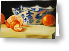 Blue And White Bowl And Tangerines Greeting Card by Ann Simons
