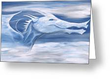 Blue And White Dragon Greeting Card