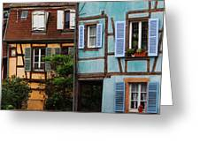 Blue And Yellow Buildings In La Petite Venise In Colmar France Greeting Card