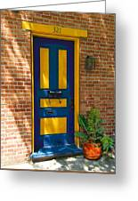 Blue And Yellow Door Greeting Card