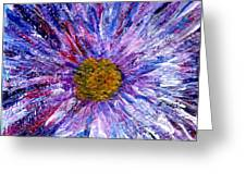 Blue Aster Miniature Painting Greeting Card