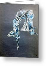 Blue Ballerina Dance Art Greeting Card