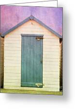Blue Beach Hut Greeting Card