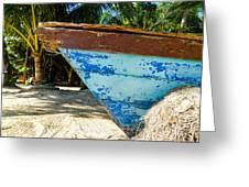 Blue Beached Canoe Greeting Card