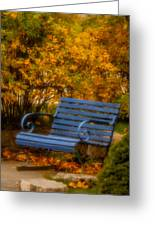 Blue Bench - Autumn - Deer Isle - Maine Greeting Card