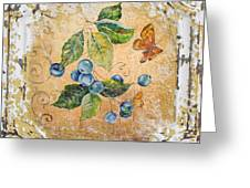 Blue Berries And Butterfly On Vintage Tin Greeting Card