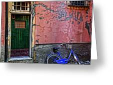 Blue Bicycle Monterosso Italy Dsc02592  Greeting Card