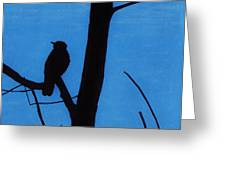Blue - Silhouette - Bird Greeting Card