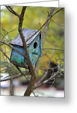Blue Birdhouse Greeting Card