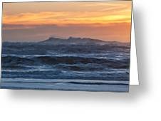 Blue Black Tide At Sunset Greeting Card