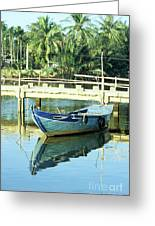 Blue Boat 02 Greeting Card