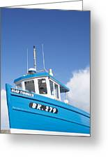 Blue Boat Blue Sky Greeting Card