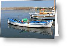 Blue Boat In Sozopol Harbour Greeting Card