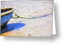 Blue Boat On Mudflat Greeting Card