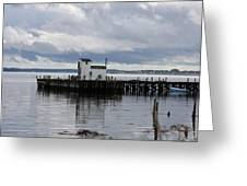 Blue Boat On The Wharf Greeting Card
