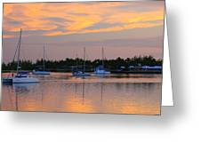 Blue Boats At Sunset Greeting Card