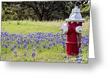 Blue Bonnets Fire Hydrant V2 Greeting Card