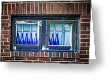 Blue Bottles In A Window Greeting Card