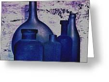 Blue Bottles Greeting Card