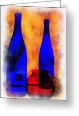 Blue Bottles Photo Art Greeting Card
