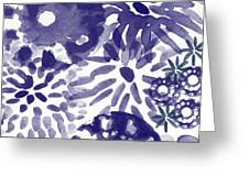 Blue Bouquet- Contemporary Abstract Floral Art Greeting Card
