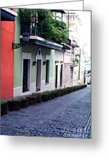 Blue Brick Street Old San Juan Greeting Card