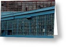 Blue Building Windows Greeting Card