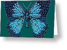 Blue Butterfly Green Background Greeting Card