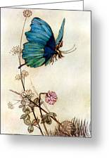 Blue Butterfly Greeting Card by Warwick Goble
