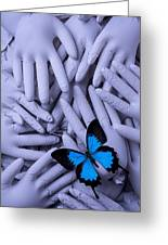 Blue Butterfly With Gary Hands Greeting Card by Garry Gay