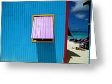 Blue Cabin Greeting Card by Randall Weidner