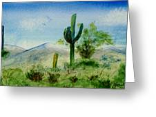 Blue Cactus Greeting Card