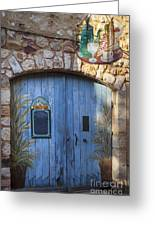 Blue Cafe Doors Greeting Card