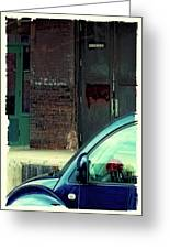 Blue Car On Washington Avenue In Minneapolis Greeting Card