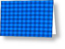 Blue Checkered Tablecloth Fabric Background Greeting Card