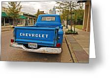 Blue Chevy Tailgate Greeting Card