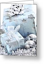 Blue Christmas Gift Boxes Greeting Card
