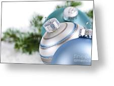 Blue Christmas Ornaments Greeting Card