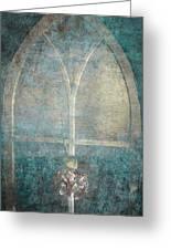 Blue Church Window And Hydrangea Greeting Card