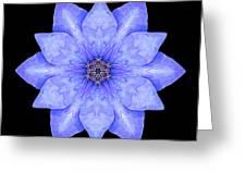 Blue Clematis Flower Mandala Greeting Card